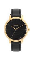 Nixon Kensington Watch With Leather Strap Gold Black