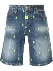 Philipp Plein 'Dynamite' Denim Shorts Blue