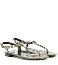 Balenciaga Classic Studded Leather Sandals Green