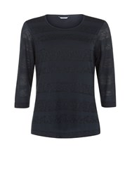 Dash Lace And Jersey Stripe Top Navy