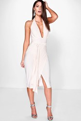 Boohoo Slinky Plunge Halter Wrap Skirt Dress Blush