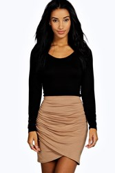 Boohoo Rouched Wrap Mini Skirt Camel