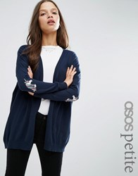 Asos Petite Swing Cardigan With Unicorn Elbow Patch Navy