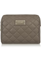 Dkny Quilted Leather Cosmetics Case Nude