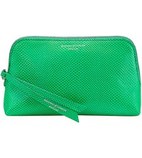 Aspinal Of London Essential Lizard Embossed Leather Cosmetic Case Green
