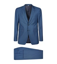 Burberry Modern Fit Travel Tailoring Wool Suit Male Blue