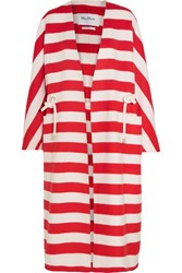 Max Mara Striped Wool And Angora Blend Coat Red