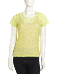 Velvet By Graham And Spencer Embroidered Mesh Short Sleeve Top Neon Yellow