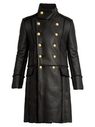 Balmain Double Breasted Shearling Overcoat Black
