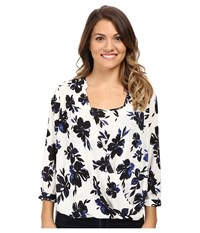 Nydj Petite Drape Front Blouse With Built In Cami Fair Lady Floral Women's Blouse White