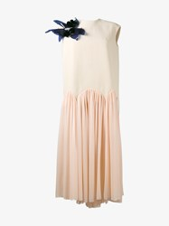 Delpozo Sleeveless Cotton Silk Blend Dress Pink Beige Blue Black Red