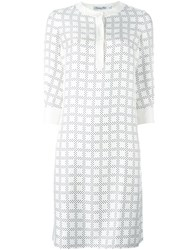 Christian Dior Vintage Geometric Print Dress White