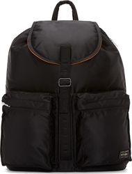 Porter Black Satin Drawstring Tanker Backpack