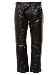 Christopher Kane Staple Embellished Straight Leg Leather Trousers Black