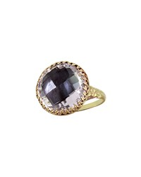 Olivia Gold Washed Topaz Button Ring Gray Larkspur And Hawk Gold Gray