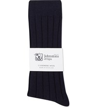 Johnstons Ribbed Cashmere Socks Navy