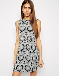 Style London Baroque Print Dress With Back Detail Black
