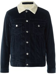 Editions M.R Ribbed Buttoned Jacket Blue