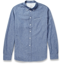 Officine Generale Japanese Chambray Cotton Shirt Blue