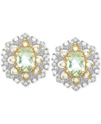Victoria Townsend Green Amethyst 2 2 5 Ct. Tw.W. And White Topaz 1 3 Ct. T.W. Stud Earrings In 18K Gold Plated Sterling Silver