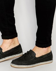 Asos Loafers With Tie Front In Black Snakeskin Effect Suede Black