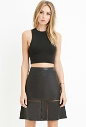 Forever 21 Contemporary Faux Leather Laser Cut Skirt Black