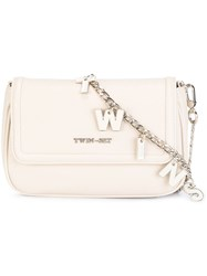 Twin Set Lettered Chain Crossbody Bag Nude Neutrals