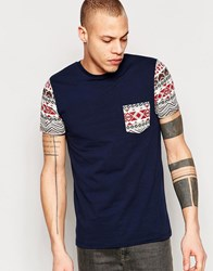 Asos Extreme Muscle T Shirt With Geo Tribal Pocket And Sleeves In Ecru Navy