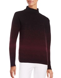 Lafayette 148 New York Mock Turtleneck Ribbed Ombre Sweater Black Multi