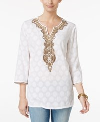 Charter Club Petite Embellished Jacquard Tunic Only At Macy's Bright White