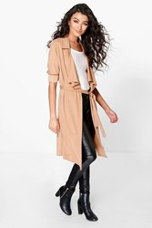 Boohoo Waterfall Belted Trench Camel