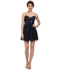 Aidan Mattox Spaghetti Strap Party Dress W Beaded Bodice Midnight Women's Dress Navy