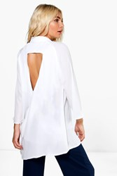 Boohoo Draped Open Back Shirt White