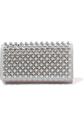 Christian Louboutin Macaron Studded Leather Wallet Light Gray Silver