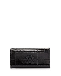 Marion Quilted Patent Leather Wallet Black Tory Burch