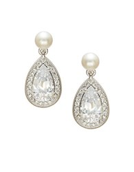 Nadri Faux Pearl And Pave Drop Earrings