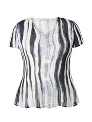 Chesca Plus Size Ivory Ink Shadow Stripe Top
