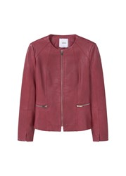 Mango Zip Leather Jacket Red