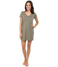 Michael Stars Short Sleeve V Neck Tee Dress Olive Moss Women's Dress