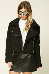 Forever 21 Faux Fur Cropped Moto Jacket