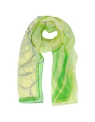 Laura Biagiotti Geometric Print Silk Long Scarf Green