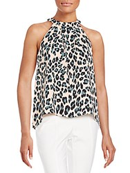 1.State Pleated Cheetah Print Top White Peach