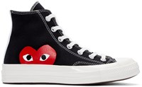 Comme Des Garcons Black Half Heart Converse Edition High Top Sneakers