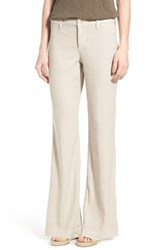 Nydj Women's 'Claire' Cotton And Linen Blend Wide Leg Trousers Sand Dollar