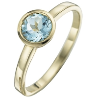A B Davis 9Ct Yellow Gold Gemstone Rubover Ring Aquamarine