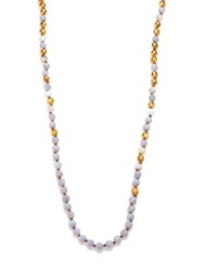 Chan Luu Blue Lace Agate Long Beaded Necklace Blue Gold