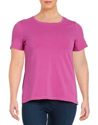 Lord And Taylor Plus Knit Crewneck Tee Purple Orchid