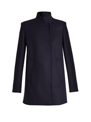 Proenza Schouler Stand Collar Double Breasted Coat Navy