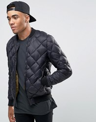 Pull And Bear Pullandbear Quilted Bomber Jacket In Black Black