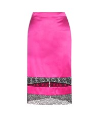 Givenchy Lace Trimmed Silk Satin Skirt Pink